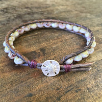Sand Dollar Knotted Bracelet, Purple Seashells, Beaded Beach Boho Jewelry by Two Silver Sisters