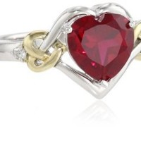 XPY Sterling Silver and 14k Yellow Gold Diamond and Heart-Shaped Created Ruby Ring (0.03 cttw, I-J Color, I3 Clarity): Jewelry: Amazon.com