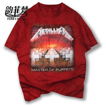 high quality t shirt METALLICA classic Tombstone cross music design master of puppets rock style heavy metal men/women t-shirt