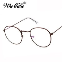 WHO CUTIE 2017 Round Fake Circle Glasses 3447 Clear Optical Lens Men Women Computer Gold Eyeglasses Brand Designer Oculos OM324