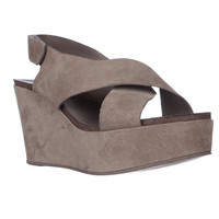 STEVEN Steve Madden Genesis Wedge Criss-Cross Sandals - Taupe