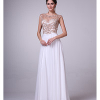Off White Illusion Open Back Embellished Gown 2015 Prom Dresses
