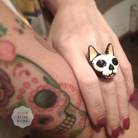 Mori, Skull Cat Ring , Hand Painted with High Gloss Enamel .