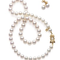 Akoya Cultured Pearl Set - 18 karat Yellow Gold