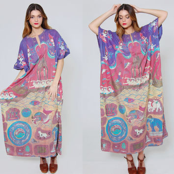Vintage 90s Ethnic Caftan J PETERMAN Asian Print Boho Caftan Cotton Hippie Maxi Tent Dress