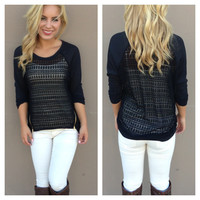 Black Zipper Lightknit Top