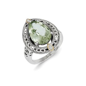 Antique Style Sterling Silver with 14k Gold Diamond & Green Quartz Ring