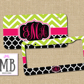 personalized license plate monogram license plate frame cute car tags vanity license plate - Monogram License Plate Frame