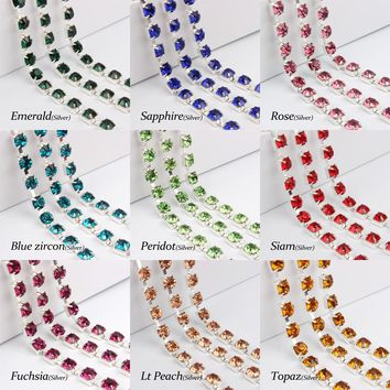 SS28 Crystal Rhinestone Silver claw cup chain 1yards 17colors for your choice for garment Accessories