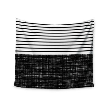 "Trebam ""Platno (with Black Stripes)"" Black White Wall Tapestry"