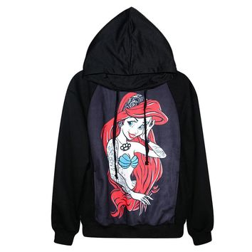 3D Printed Hoodies - Little Mermaid Long Sleeve Loose Sweatshirt