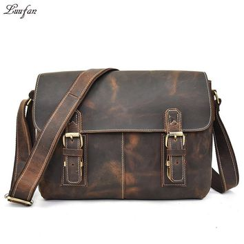 Vintage Genuine Leather Men's Shoulder Bag Laptop Crazy Horse Leather Messenger Crossbody Bags Book Work School Bag