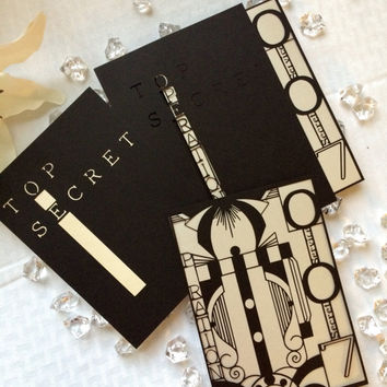 Laser cut spy james bond party wedding theme invitation DIY kit top secret art deco
