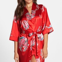 Women's Cathy's Concepts Personalized Floral Satin Robe