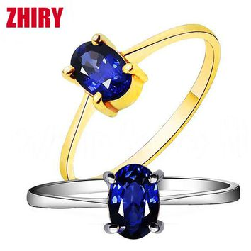 Natural blue Sapphire stone Ring real 18k White Gold or rose gold women gem Rings Women Jewelry luxury noble wife