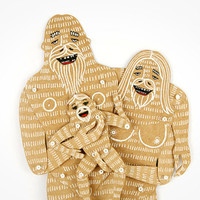 Yeti Family (3 members) - Articulated Paper Dolls by Dubrovskaya. Kraft paper, hand painted, MADE TO ORDER.