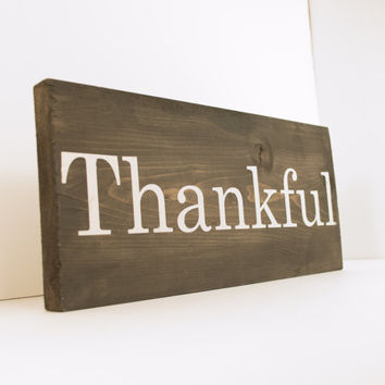 Thankful wood sign - Fall wood sign, rustic fall, Rustic Thanksgiving, Fall decoration, Thanksgiving decor, Rustic home decor, fall mantel