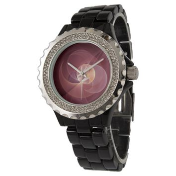 Movement Abstract Modern Wine Red Pink Fractal Art Wrist Watch
