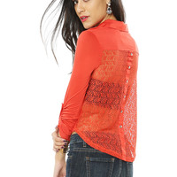 Papaya Clothing Online :: BACK LACY ONE POCKET BLOUSE