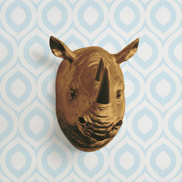 The Serengeti in Bronze Faux Rhino Head - Rhinoceros Fake Taxidermy Resin Animal Ceramic Fauxidermy Decorative Plastic Wall Mount Replica