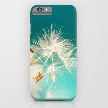 delicate dandelion in turquoise iPhone & iPod Case by Anabprego