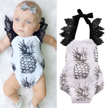 Adorable Baby Girls Clothes Tops Lace Fruit Bodysuit Cute Ruffles Jumpsuit Sunsuit Outfit Clothing Baby Girl
