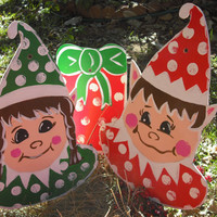 Elf Decoration - Lawn Ornament - Christmas elf - Hand Painted Ornaments - Elf  - Dec 24th - Stant's Helpers - Green Red ©Jack Jack's Wayart