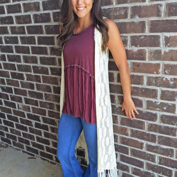 Long Crochet Vest with Fringe