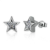 Starshine Clear 925 Sterling Silver Star Push-back Women Stud-Earrings Jewelry Brincos Pendientes Mujer