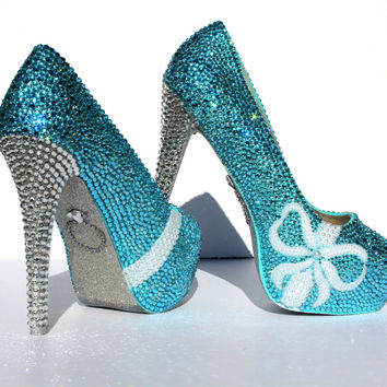 Shop tiffany blue wedding shoes on wanelo tiffany blue wedding shoes with pearl bows and crystal heels junglespirit Image collections