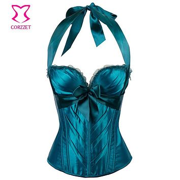 6XL Plus Size Corset Sexy Push Up Bustier Halter Tops Ocean Blue Satin Burlesque Corsets and Bustier Gothic Korsett For Women