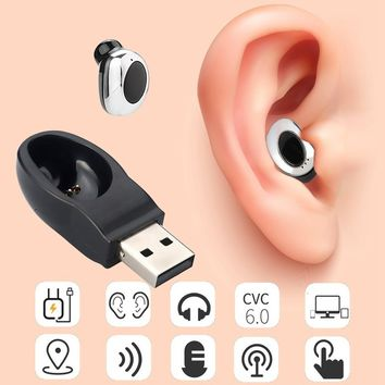 Power Saving Stereo Mini Bluetooth Earphones In Ear Earpiece Invisible Headset Handsfree Magnet USB Charger Earbuds Cordless Ear