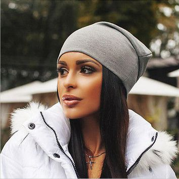 Winter Hats for Women Beanies Cotton Blended Hip Hop Caps Slouch Warm Hat Festival Unisex Turban Cap Solid Color Bonnet Hats