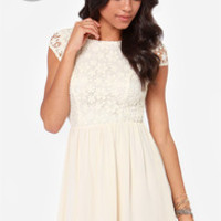 LULUS Exclusive Fleur Get Me Not Cream Crochet Dress