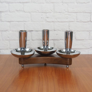 Danish Modern Candle Holder / Milbern Creations Triple Taper Candle Holder Chrome and Wood / Midcentury Modern Home Decor