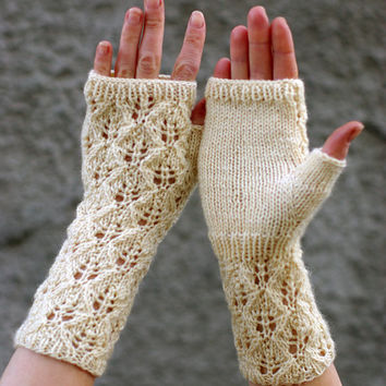 Lace Arm Warmers Knitting Pattern : Lace fingerless mittens knitting pattern, from ESTtoYou on ETSY