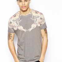 ASOS Longline T-Shirt With Dragon Print And Skater Fit - Gray