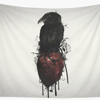 'Raven and Heart Grenade' Wall Tapestry by Nicklas Gustafsson