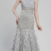 Platinum Embroidered Chiffon & Feather One Shoulder Drop Waist Prom Gown - Unique Vintage - Prom dresses, retro dresses, retro swimsuits.