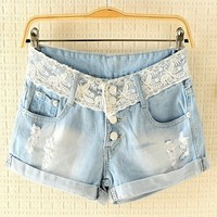 [grxjy560052]Latest Frayed Lace Waist Cuffed Legs  Shorts