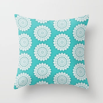 MINIMALIST MANDALA COLLAGE II (AQUA, BLUE, LIGHT, SKY) Throw Pillow by AEJ Design