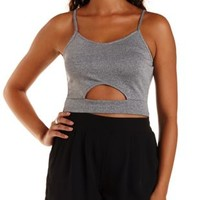 Charcoal Ribbed & Marled Cut-Out Crop Top by Charlotte Russe