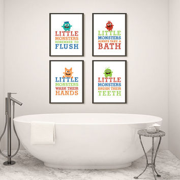 Gender Neutral or Boy, Four Monster Bathroom Prints, Printed Wall Art for Kids, Choose Size and Materials, Boy Bathroom Rules