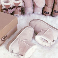 UGG Short boots antiskid warm lazy sheep fur ugg boots Sand white