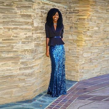 Fashion Royal Blue Sequin Skirt Custom Made Floor Length Long Maxi Skirt Shiny Pencil Skirt Women Spring Autumn Style Maxi Skirt