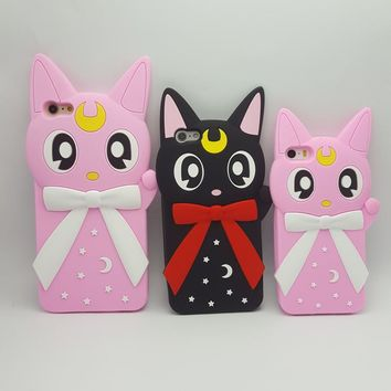 3D Cartoon Sailor Moon cute bow Luna cat Soft silicone Cover Case for iPhone 8 6 7 6S Plus 5 5s SE  Phone cases