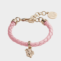Versace Braided Leather Charm Bracelet for Men   US Online Store