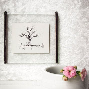 Miniature Original INK Tree DRAWING #2 in Unique HANDMADE Picture Frame Beautiful Detailed Intricate Nature Fine Art. Home Decor- Wall Decor