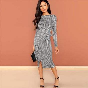 Office Ruffle Detail Split Plaid Dress Elegant Sheath Long Sleeve Slim Dresses Women Work Midi Dresses