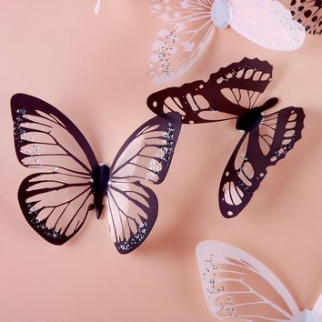 crystal 3d butterflies 18pcs diy home decor wall stickers for kids rooms Christmas party decoration kitchen refrigerator decal